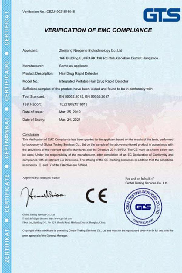CE Certification: Multi-Kits Desktop Hair Drug Rapid Detector